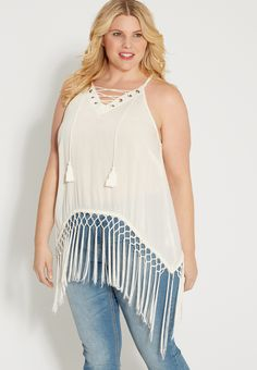 plus size lace up tank with weaved fringe (original price, $39.00) available at #Maurices