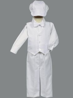 boy's White Poly-Cotton Weaved Vest, Bow and Pant Set