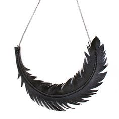 """Feather Necklace, Black Leather Feather Jewelry, """"RAVEN"""" Statement Necklace by Loveatfirstblush"""