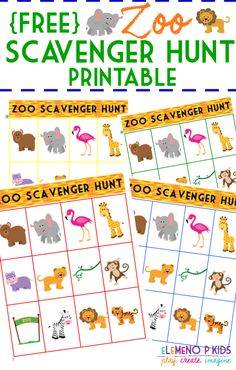 FREE Zoo Scavenger Hunt Printable