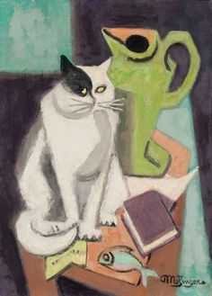 Jean Metzinger (1883-1956, French), ca. 1950, Chat et poisson (Cat and Fish), Oil on canvas, 33 x 24.1 cm.