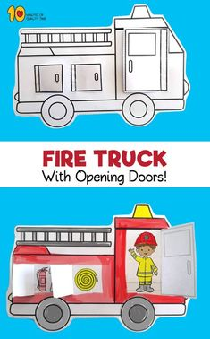 Fire Truck With Opening Doors Printable - wood design Fire Safety Crafts, Fire Crafts, Fire Safety Week, Preschool Fire Safety, Fire Safety For Kids, Fire Kids, Child Safety, Fire Truck Craft, Teaching Safety