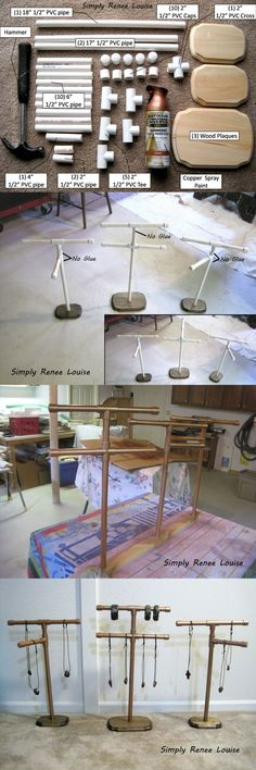 PVC Pipe Jewelry Stand Tutorial by Simply Renee Louise, perfect for displaying j. - PVC Pipe Jewelry Stand Tutorial by Simply Renee Louise, perfect for displaying jewelry at art shows - Jewellery Storage, Jewellery Display, Jewelry Organization, Necklace Display, Necklace Storage, Craft Fair Displays, Market Displays, Display Ideas, Craft Booths