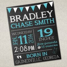 Baby Birth Announcement Sign - Chalkboard Sign - Birth Details - DIY Printable Celebrate your little one's birth with a personalized sign commemorating their arrival! Or, makes a great gift for someone you know!!