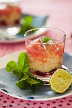 Delicious dessert with quinoa steamed slowly in coconut milk and lime and served with rhubarb