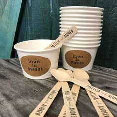Set of 250 - Love Is Sweet - 8 Ounce White Ice Cream Cup, Wooden Spoon and Recycled Brown Kraft Label Set - Free US Shipping - Wedding saving - Wedding Reception Ideas, Wedding Decor, Brunch Wedding, Rustic Wedding, Ice Cream Wedding, Ice Cream Party, Ice Cream Cups, Ice Cream Spoon, Wedding White