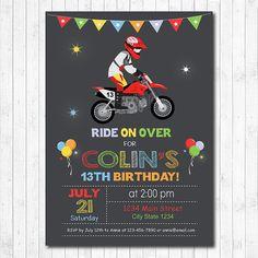 Motocross birthday Invitation Motocross invite Motocross