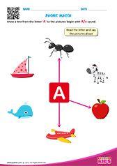 Phonic Match Beginning Sounds Worksheets, English Worksheets For Kindergarten, Kids Math Worksheets, Free Printable Alphabet Worksheets, Preschool Phonics, Phonics Sounds, English Phonics, Learning English For Kids, Work Sheet