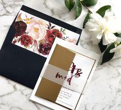 Marsala Wedding Invitations | Floral Navy Gold Wedding Stationery | Autumn Wedding | Fall Wedding | Winter Wedding | Wedding invitations | The Matilda Suite | Paper Minx Designs