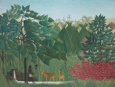 Henri Rousseau (dit Le Douanier Rousseau), (Fr. 1844–1910), La Cascade, 1910, huile sur toile, 116.2 x 150,2 cm, Chicago Art Institute