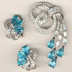 Boucher Pave and Aquamarine Swirls Pin and Clip Earrings Set ca 1949