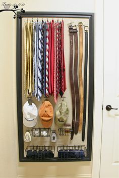 DIY men's (and women's!) closet accessory station! For men it's great for all pictured but this could totally work for a woman as well! Instead of ties for scarves and instead of hats think your most used purses or maybe you're a hat person! #DIY #crafts