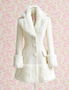 Elegant Cute White Woolen Long Coat