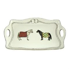 """This elegant handled tray with two beautifully hand painted horse images is an ideal entertaining accessory piece. The tray measures 15"""" long and 10"""" wide.  Product in photo is from www.wellappointedhoues.com"""