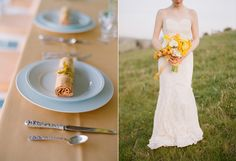 Love this as a color palette: peach, yellow, ivory INSPIRATION: A Country Spring Wedding