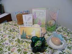 A bit of our Easter decor.....eggs, cards, postcards, table cloth, napkins.....March 2016