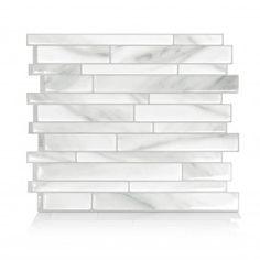 Smart Tiles Milano Massa Carrara White Marble Peel and Stick Backsplash Peel Stick Backsplash, Peel And Stick Tile, Stick On Tiles, Kitchen Backsplash, Backsplash Ideas, Credence Adhesive, Smart Tiles, Splashback Tiles, Tuile