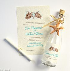 You found it! The MOST elegant beach wedding invitations in a bottle! Tropical chic bottle invitations perfect for destination beach and seaside weddings. One-of-a-kind Watercolor Sea Turtles artwork adds style and personality! Our creative invitations in a bottle will knock your guests