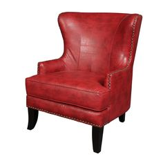 porter grant red bonded leather wingback accent chair by porter designs