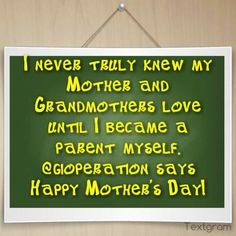 I never truly knew my Mother and Grandmothers love until I became a parent myself. @Ryan aka aka Ryan says Happy Mother's Day!