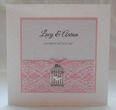 Birdcage Wedding invitation, Pink, Handmade, Lace