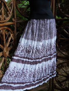 Tribal design lined cotton broomstick skirt by LamplightGifts, $9.75