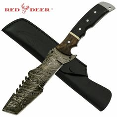 Red Deer Black Wood Real Damascus Buffalo Horn Fixed Blade Xplore Outdoor #camping #knives #outdoorliving
