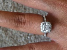 Diamond White Gold 18k Engagement Ring Cushion Cut  $6,000