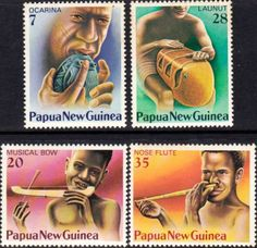 Papua New Guinea 1979 Musical Instruments Set Fine Mint SG 333/7 Scott 491/4 Other European and British Commonwealth Stamps HERE!