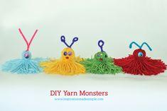 Yarn Monsters for Kids: Easy Craft Tutorial - Darice Easy Yarn Crafts, Yarn Crafts For Kids, Craft Activities For Kids, Fun Crafts, Yarn Monsters, Yarn Dolls, Yarn Projects, Art For Kids, Kid Art