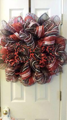 Arkansas razorback wreath by GlitzyGirlDesigns on Etsy, $75.00