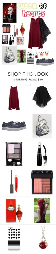 """""""School Outfit : Queen Of Hearts"""" by dawndreader ❤ liked on Polyvore featuring Finery London, Relaxfeel, Vans, Eastpak, Maybelline, Lancôme, Burberry, NARS Cosmetics, Casetify and Sian Bostwick Jewellery"""