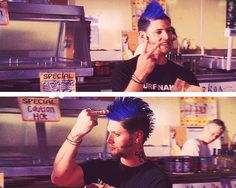 """[SET OF GIFS] """"Peace!"""" Ten Inch Hero--ok not SPN but I just love Jensen in this movie!"""