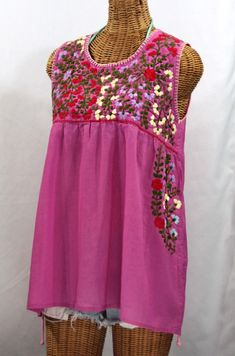 """""""La Sirena"""" Embroidered Mexican Style Peasant Top -Pink"""