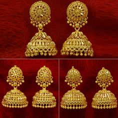 Made from alloy these Jhumka are light in weight and durable. The 18 karat gold plating further makes sure that these Jhumka retain their shine for years to come. Known as fantastic jhumka earring set for wedding party jewelry. Gold Jhumka Earrings, Gold Earrings Designs, Gold Jewellery Design, Jhumka Designs, Gold Necklace, Gold Plated Jewellery, Silver Jhumkas, Resin Jewellery, Quartz Jewelry