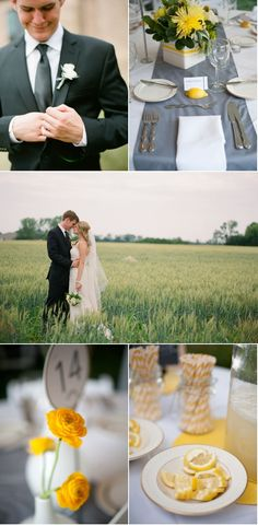 gray and yellow wedding inspiration