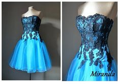 MIRANDA Black and  turquoise prom dress Tulle by AtelierArtistia