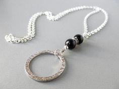 0054897a3437 Items similar to Silver Eyeglass Holder Necklace - Black Onyx - Eye Glasses  Holder - Reading Glasses Lanyard - Silver Lanyard - Beaded Eyeglass Necklace  on ...
