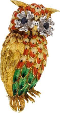Diamond, Sapphire, Enamel, and Gold Owl Brooch