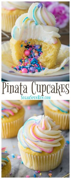 How to Make Pinata Cupcakes! These are so simple to make but they look SO COOL! Add your favorite filling and top with a colorfully swirled frosting! via @sugarspunrun