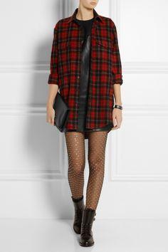 AINT LAURENT Mondrian leather shift dress, Saint Laurent top, bracelet, tights, shoes and bag.