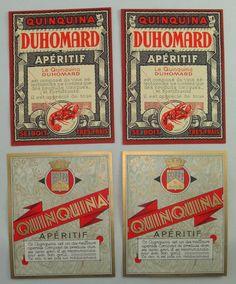 LOT 4 ETIQUETTES ANCIENNES QUINQUINA APERITIF DUHOMARD ALCOOL LABELS RUEL | eBay