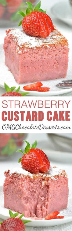 Strawberry Custard Cake is the best of all magic custard cakes I've ever tried. It's delicious, creamy and smooth and bursting with fresh strawberry flavor. 13 Desserts, Chocolate Desserts, Delicious Desserts, Yummy Food, Chocolate Chocolate, Summer Desserts, Weight Watcher Desserts, Cupcakes, Cupcake Cakes