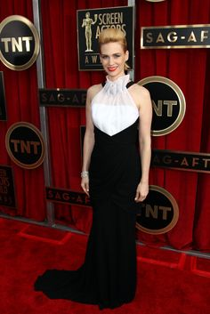 January Jones arrives at the 19th Annual Screen Actors Guild Awards at the Shrine Auditorium in Los Angeles on Jan. 27, 2013.