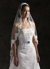 Fingertip length mantilla veil with 1 tier embellished with  lace applique edge and pearls.