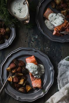 Coho Salmon with Dill Caper Sauce & Garlic Roasted Redskins and Brussels Sprouts - Will Cook For Friends - FeedPuzzle Fish Recipes, Seafood Recipes, Whole Food Recipes, Cooking Recipes, Roasted Salmon, How To Grill Steak, Ground Beef Recipes, Snacks, Food Photography