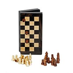 Travel Magnetic Folding Black Stained Wood Chess Set *** Want to know more, click on the image.