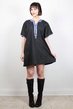 Vintage Hippie Dress Black Mini Dress Caftan Dress 1970s 70s Boho Ethnic Kaftan Pink Blue Embroidered Trim Festival Dress M Medium L Large by ShopTwitchVintage #vintage #etsy #70s #1970s #dress #mini #caftan #hippie #ethnic #boho #kaftan