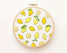 Original Hoop Art. Handmade Embroidery. Lemons. by HoneyBunnyHoops
