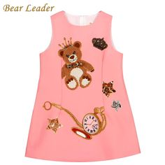 Princess Dresses Girls Clothes Sleeveless Pink Little Bear Pattern Print for Kids Dress 3-8Y $23.72 => Save up to 60% and Free Shipping => Order Now! #fashion #woman #shop #diy www.bbaby.net/...